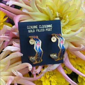 Genuine Cloisonne Hoop Earrings